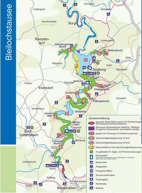 Karte des Bleilochstausees am Thüringer Meer