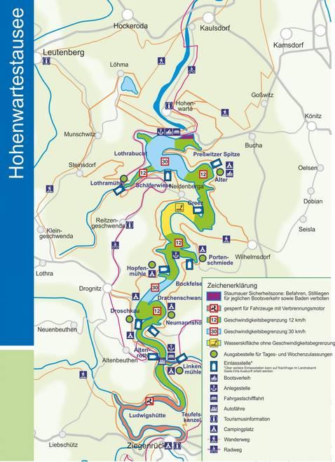 Karte Hohenwartestausee am Thüringer Meer