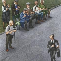 """Beispiel aus der Ausstellung """"Das Alter in der Karikatur"""" - von Gerhard Haderer"""
