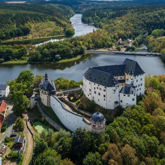 Schloss Burgk aus der Vogelperspektive