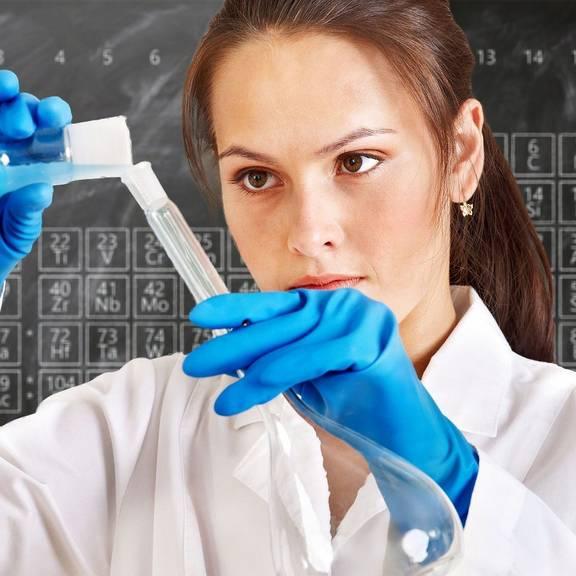 Illustration Thema Ausbildung - junge Frau im Labor